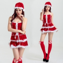 Christmas clothing cute double-layer white hair edge harness Christmas skirt with plastic sleeve