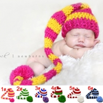Handmade baby hat wool knit long tail baby Christmas hat