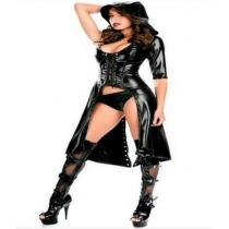 Leather cape performance Club DS jazz dance clothes An evening stage bar singer dress uniform