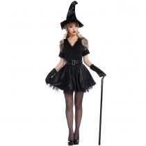 2016 new short black witch Halloween witch dress clothes