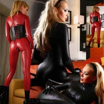 Sexy leather suits for women sexy black leather long suit