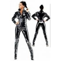 Sexy ladies leather pu catsuit sexy costume
