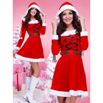 Christmas Dress Long Sleeve Christmas Skirt Hooded Christmas Dress DS Stage Performance Service