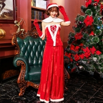 The new eldest daughter of the Christmas dress temperament split Christmas dress set