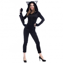 2017 new Halloween costume cosplay sexy black cat conjoined clothing panda animal play