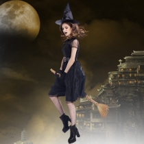 2017 Halloween new veil witch witch witch dress temperament witch night ghost game suit