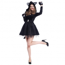 2017 new Halloween costumes cosplay sexy black cat skirt dress panda animals play