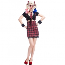 Fun suit students installed night uniforms plaid harness students school college style role play suit clothing