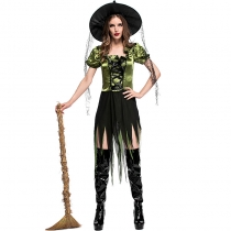 2017 new green witch witch game suit irregular witch dress
