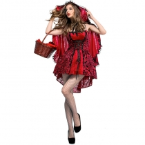 2017 Halloween costume gothic wind little red cap nightclub queen service European and American export role play suit
