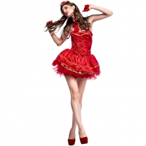 2017 Big Red New Halloween Costume Vintage Cigarette Girl Costume Stage Dress
