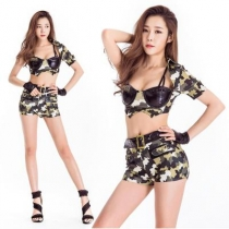 New stage costume costume split waist camouflage costume annual party