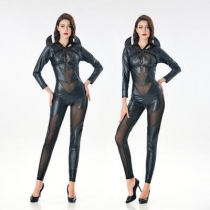 Halloween PVC Siamese demon costume sexy one-piece leather demon costume