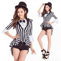 Fashion tuxedo role-playing magician Jazz dance costume female singer performing ds