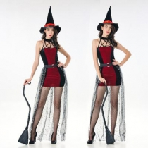Halloween Wine Red Sexy Witch Witch Costume Halloween Party Party Stage Costume with sock