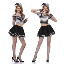 Female prisoner costume role-playing split black broken strip female prison uniform uniform temptation