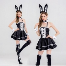 Black Sling Rabbit Costume Theme Party Party Bunny Girl with sock