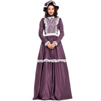 2018 new purple retro court costume European court costume masquerade party long skirt dress