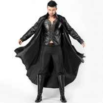 2018 new Halloween men's vampire cospaly leather cloak night DS clothing party opening stage costumes
