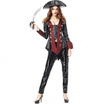 2018 new Halloween leather pirate women's role-playing cosplay pirate captain costume stage costume