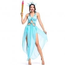 2018 new party party costume lake blue hollow free goddess cosplay stage performance costume