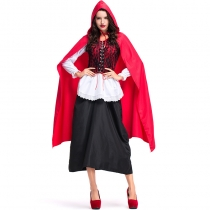 2018 New Products Halloween Carnival Christmas Performance Costume Lace Long Cape Red Riding Hood Stage Performance