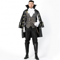 2018 new Halloween men's pirate role-playing suit Cloak with cloak suit Adult game clothing Stage suit