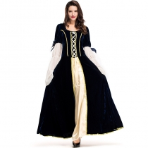 2018 Party Carnival Cos Costume Medieval Dark Blue Court Dress Queen Stage Performance Costume