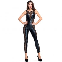 Sleeveless side openwork jumpsuit mesh locomotive suit Nightclub DS suit Sexy suit Export European and American uniform
