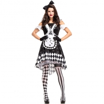 2018 new Halloween black and white plaid Alice clock stage costume Cosplay circus clown pettiskirt