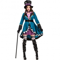 2018 new Halloween Alice Mad Hat Adult Women Magician Performance Costume Nightclub Animal Trainer Stage Costume