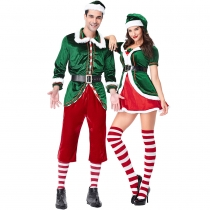 2018 new Christmas couple costumes Europe and America green Christmas Elf suit party party role play