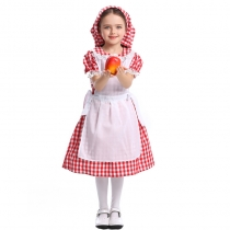 American Century Farm Costume Halloween Fairy Cosplay Lace Red Plaid Beer Dress Maid