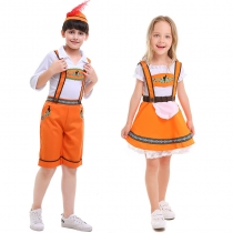 Children's Orange National Traditional Costumes Children's Day Stage Costumes German Beer Festival Costumes
