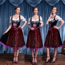 Bavarian beer clothing German Meni Dark Beer Festival clothing bar service students promote the stage costumes