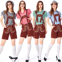 German beer suit suspenders trousers beer clothes Munich beer festival clothes bar embroidered bib adult women
