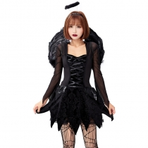 Halloween cosplay adult angel and demon black evil fallen angel mesh dress with wings