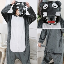 2019 new flannel wolf animal conjoined pajamas cute cartoon couple lovers clothing wholesale autumn and winter