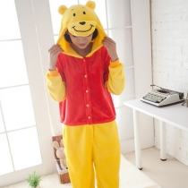 Men and women conjoined animal pajamas cartoon Winnie the bear coral autumn and winter long-sleeved explosion models