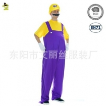 Adult Purple Yellow Super Mario Mario Cosplay Costume Stage Performance Masquerade