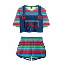 Good guys chucky fake two-piece 3D printed short-sleeved shorts suit summer women's tide