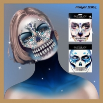 New Halloween Face Sticker Terrorist Acrylic Diamond Tattoo Sticker Eco Friendly tattoo Face Funny Face Makeup