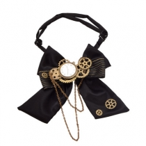 Steampunk accessories lolita retro bow tie clock lock chain gear bow