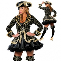 New Halloween Costumes Europe and America Sexy Medieval Caribbean One-eyed Dragon Pirate Costume