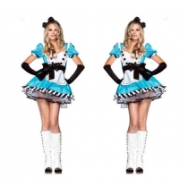 Alice in Wonderland cosplay blue maid Halloween maid service European and American uniform temptation