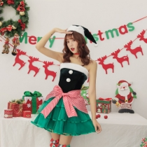 2019 new Christmas Christmas costume green red knot Christmas tree party party photo clothing code