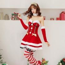 New Japan and South Korea sweetheart Christmas costume tube top Christmas dress Christmas party party stage costumes photo service