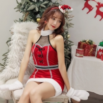 2019 new sexy hanging neck Christmas red dress Christmas costume party night show DS costumes