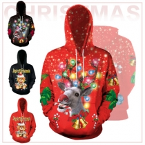 Christmas 2019 new 3D elk digital printing hooded pullover sweater casual large size couples baseball uniform