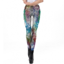 Explosion models 3D printed fish scale pencil pants ladies feet leggings